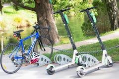 Las vespas de la cal parquearon por una bici en los jardines botánicos fotos de archivo