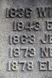 Las viejas fechas de la vida de la persona tallaron en la lápida mortuaria imagenes de archivo