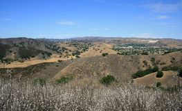 Las Virgenes Overlook Panorama. Rolling hills and blue sky, Malibu, CA Stock Images
