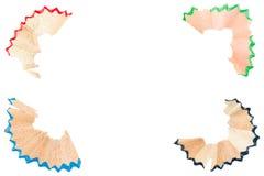 Las virutas del color dibujaron a lápiz en todas las esquinas Imagenes de archivo