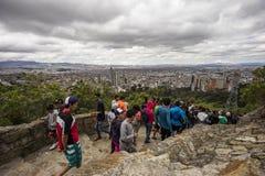 Las vistas agradables del ¡de Bogotà del Monserrate se arrastran Imagen de archivo libre de regalías