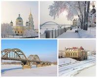 Las vistas de la ciudad Rybinsk, Rusia collage Invierno Foto de archivo