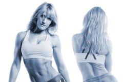 Las vistas delanteras y traseras de una aptitud femenina modelan con el tono azul foto de archivo