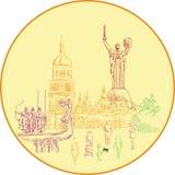 Las vistas principales de Kiev Arte del vector imagenes de archivo