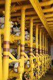 Las válvulas manuales en el proceso, proceso de producción utilizaron la válvula manual para controlar la válvula manual del sist Imagen de archivo libre de regalías