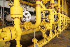 Las válvulas manuales en el proceso, proceso de producción utilizaron la válvula manual para controlar la válvula manual del sist Fotografía de archivo libre de regalías