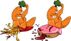 Las zanahorias contra las patatas fritas y el buñuelo, comida sana ayunan, competencia Imagenes de archivo