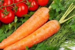 Las zanahorias y los tomates y otros vehículos Imagen de archivo libre de regalías