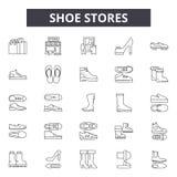Las zapaterías alinean los iconos, muestras, sistema del vector, concepto linear, ejemplo del esquema libre illustration