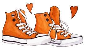 Las zapatillas de deporte anaranjadas de la acuarela emparejan los zapatos que los corazones aman vector aislado Imagen de archivo