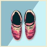 Las zapatillas de deporte de los zapatos de cuero forman a calzado del hombre el ejemplo plano del diseño imagen de archivo libre de regalías