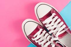 Las zapatillas de deporte rojas mienten en una superficie en colores pastel coloreada multi Fotos de archivo libres de regalías