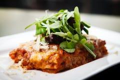 Lasagna με τη σαλάτα Στοκ Φωτογραφίες