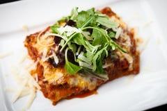 Lasagna με τη σαλάτα Στοκ Εικόνες