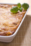 Lasagna. With basil in casserole Stock Image