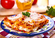 Lasagna. Delicious Italian traditional dish, meat lasagna with ricotta and and mozzarella