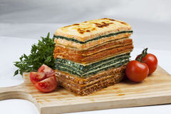 Lasagna. Stack of lasagna with different flavors Stock Photography