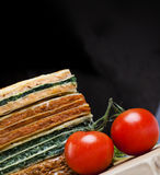 Lasagna. Stack of lasagna with different flavors Royalty Free Stock Photos