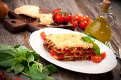 Lasagna. Meat lasagna with tomato and cheese Royalty Free Stock Images