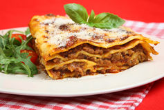 Lasagna al Forno with Rocket Salad Stock Photo