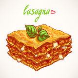 Lasagna. Appetizing piece of lasagna with beef and basil leaves Stock Photography