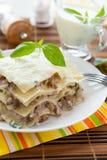 Lasagna with béchamel sauce and mozzarella Royalty Free Stock Photography