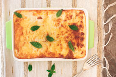 Lasagna in a baking dish Stock Photography