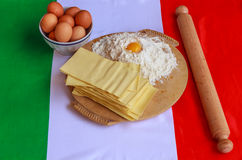 The lasagna. The basic ingredients of lasagna Stock Photos