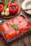 Lasagna with beef . Italian cuisine. Royalty Free Stock Photo