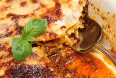Lasagna Being Served. Beef lasagna in casserole dish with serving spoon Stock Images