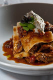 Lasagna of braised lamb Stock Images