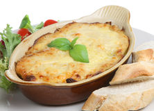 Lasagna with Bread and Salad Stock Photo