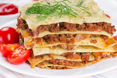 Lasagna with cherry tomatoes Royalty Free Stock Photos