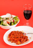 Lasagna with Chianti - vertical Stock Images
