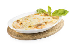 Lasagna with chicken and mushrooms. Lasagna with chicken, mushrooms, bechamel, cheese and vegetables Stock Photography