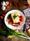Lasagna with chilli pepper Stock Photo