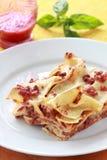 Lasagna, close up of a piece Stock Images