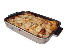 Lasagna in colorful ceramic casserole Royalty Free Stock Photos