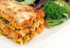 Lasagna con la ensalada Imagen de archivo libre de regalías