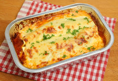 Lasagna Convenience Meal. In foil tray royalty free stock photo