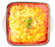 Lasagna in a cooking glass pot Royalty Free Stock Images