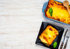 Lasagna with Copy Space Text Area stock image