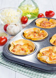 Lasagna cups with minced meat, bolognese sauce topped with cheese Stock Image