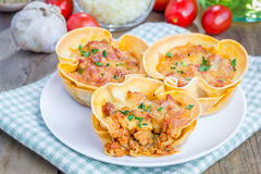 Lasagna cups with minced meat, bolognese sauce topped with cheese Stock Photography