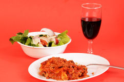 Lasagna Dinner with Chianti Wine Royalty Free Stock Images