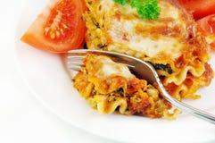 Lasagna e pomodori con la forcella fotografia stock libera da diritti