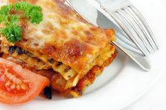 Lasagna e pomodori su bianco fotografia stock libera da diritti