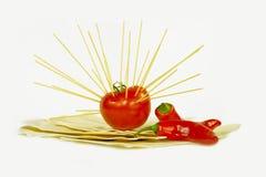 Lasagna e pomodoro Fotografia Stock