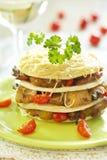 Lasagna with fish and mushrooms Royalty Free Stock Image
