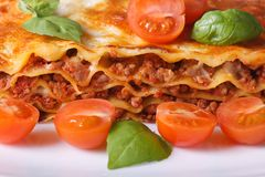 Lasagna with fresh basil and cherry tomatoes macro Royalty Free Stock Image